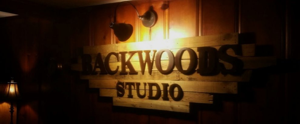 Backwoods Recording Studio Sign in The Office
